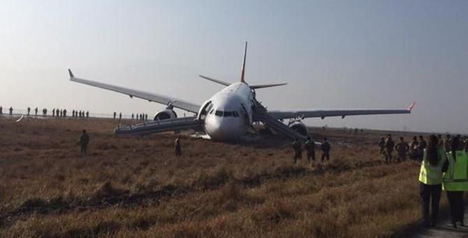 THY uçağı pistten çıktı: 1 yaralı