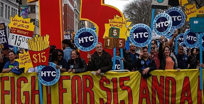 ABD'de asgari ücret protestosu