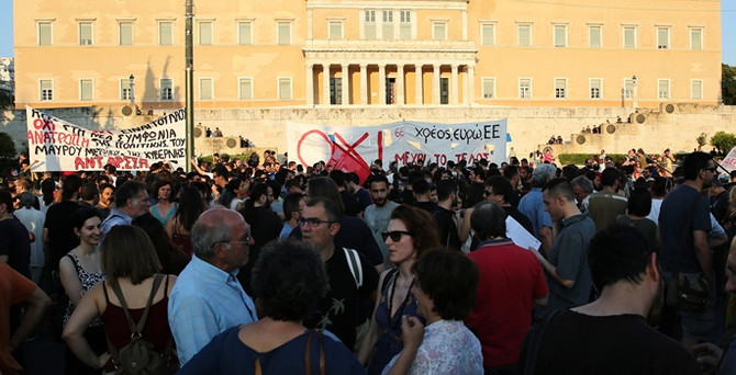 Yunanistan'da 'kurtarma paketine' karşı gösteri