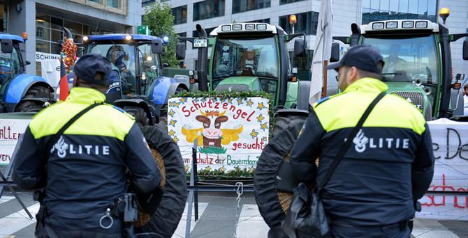 Binlerce çiftçi Brüksel'i traktörlerle istila etti
