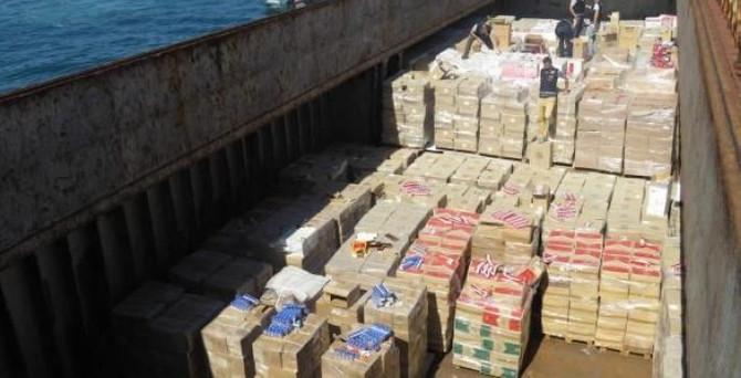 Gemide 867 bin 500 kaçak sigara