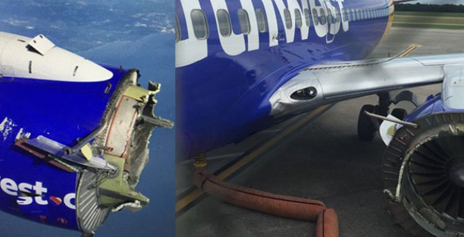 Yolcu uçağının havada motoru parçalandı
