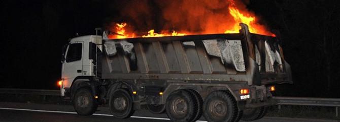 TEM'de kamyon yangını