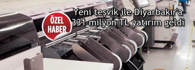 Yeni teşvik ile Diyarbakır'a 331 milyon TL yatırım geldi