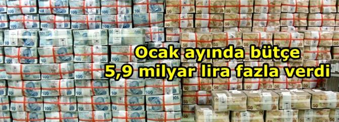 2013 bütçesi Ocak ayında 5,9 milyar lira fazla verdi