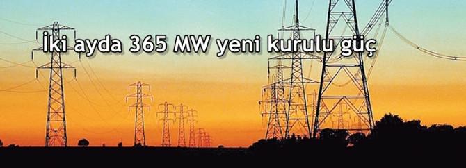 İki ayda 365 MW yeni kurulu güç