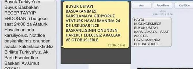 Geziciler tweet ile AK Partililer SMS ile