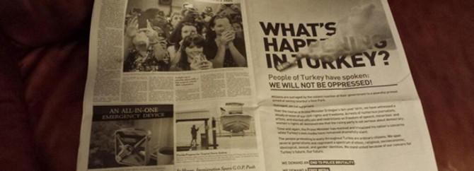 The Times'taki ilana karşı bildiri