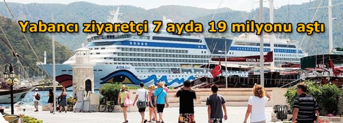 Yabancı ziyaretçi 7 ayda 19 milyonu aştı