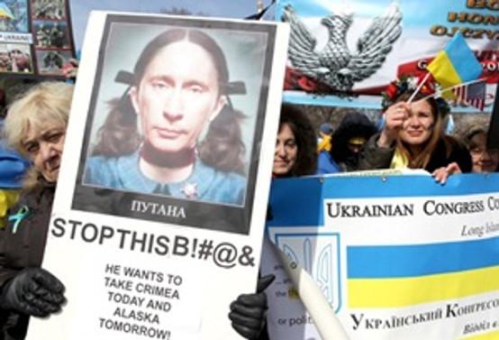 Beyaz Saray önünde Rusya protestosu