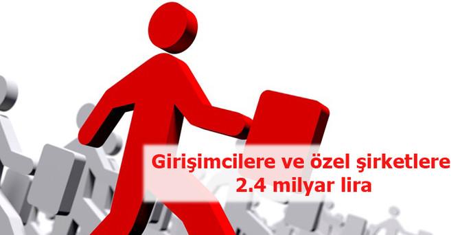 Girişimcilere ve özel şirketlere 2.4 milyar lira