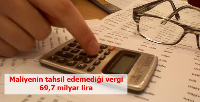 Maliye'nin tahsil edemediği vergi 69.7 milyar lira
