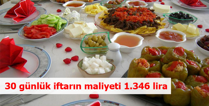 'İftar sofrasının maliyeti' 1.346 lira