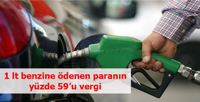 1 lt benzine ödenen paranın yüzde 59'u vergiye gidiyor