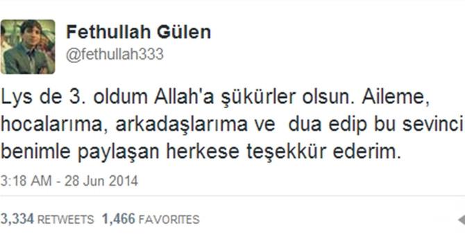 Fethullah Gülen, Türkiye 3.'sü oldu
