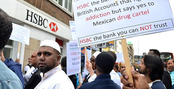 "HSBC'ye ""İslamofobik"" protestosu"