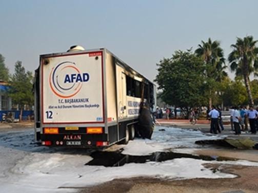 Adana'dan AFAD TIR'ı yandı