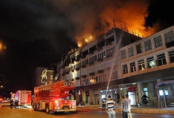 Bursa'da iş merkezinde yangın