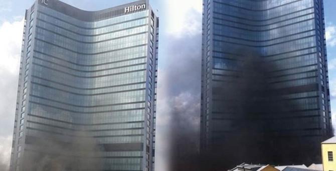 Hilton Otel'de korkutan yangın