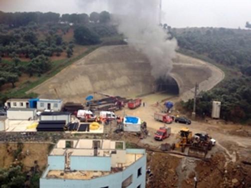 Hızlı tren tünel inşaatında yangın!