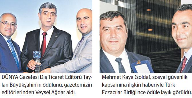 DÜNYA Gazetesi'ne iki ödül birden