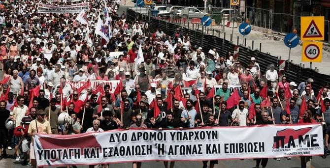 Atina'da hükumet protestosu