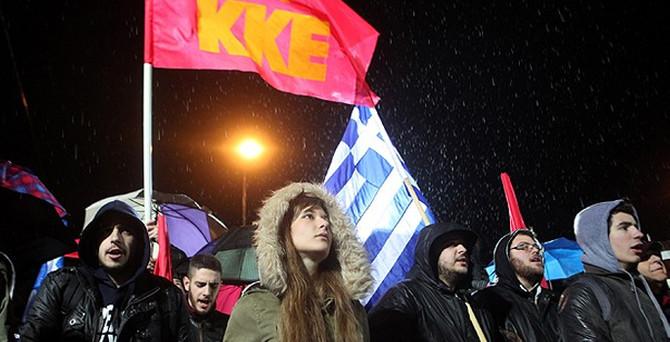 Komünistler'den SYRIZA'ya protesto