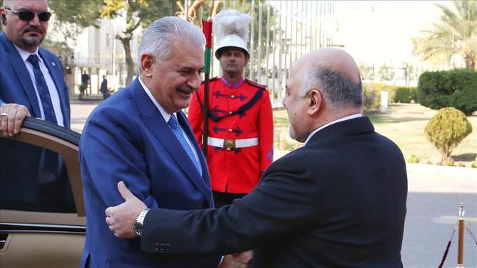 Başbakan Yıldırım Irak'ta resmi törenle karşılandı