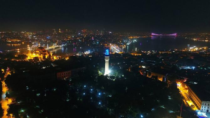 Beyazıt Kulesi ışıklandırıldı
