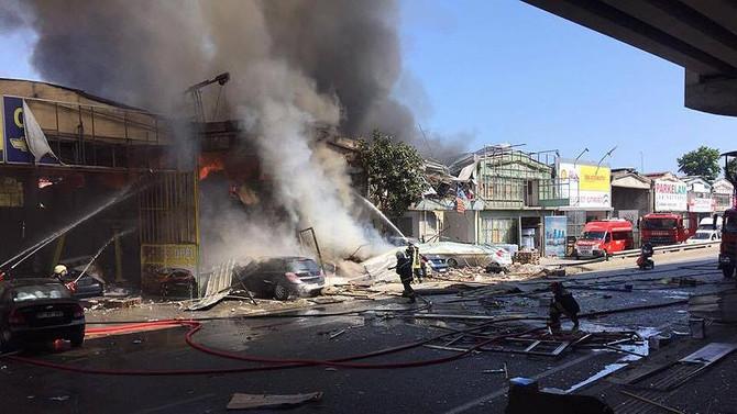Samsun'da sanayi sitesinde yangın çıktı