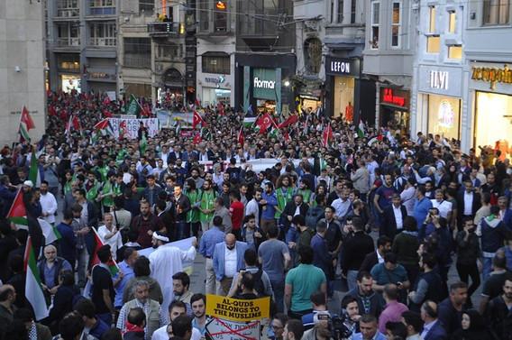 İstiklal Caddesi'nde ABD ve İsrail protestosu