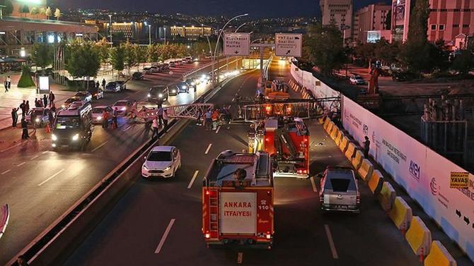 Başkentte metro inşaatında vinç kazası