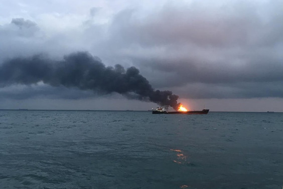 Kerç Boğazı'nda iki gemide yangın: 10 ölü