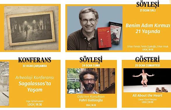 Pamuk'tan Ümit'e Yapı Kredi Kültür Sanat, Ocak programı