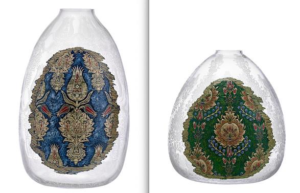 Paşabahçe'den sümbül, karanfil ve lale dokumalı vazolar