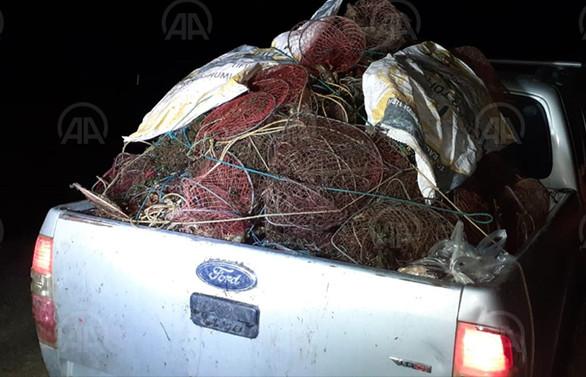 Afyonkarahisar'da kaçak kerevit avında kullanılan 650 ağ imha edildi
