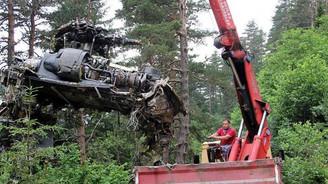 Giresun'da düşen askeri helikopterin enkazı kaldırıldı