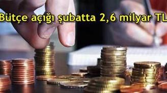 Bütçe açığı 2,6 milyar TL