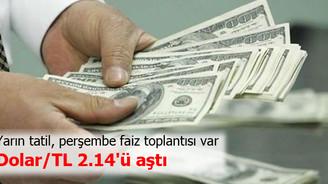 Dolar/TL, faiz kararı öncesinde 2,14'ü aştı