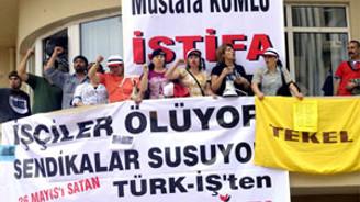 """""""Türk-İş'in ilkesiz tavrını protesto ediyoruz"""""""