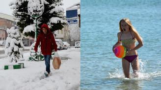 Doğuda kar, Didim'de deniz keyfi
