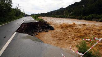 Artvin'de şiddetli yağış yolu çökertti