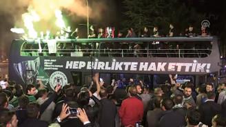 Türkiye Kupası şampiyonu Konyaspor'a coşkulu karşılama