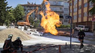 Başkentte doğalgaz boru hattında yangın