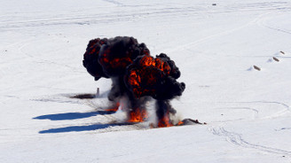 Kars'ta kış tatbikatından kareler