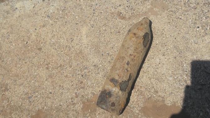 Manisa'da patlamamış top mermisi bulundu
