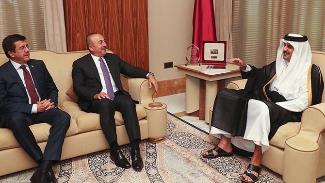 Çavuşoğlu ve Zeybekci, Katar Emiri ile görüştü