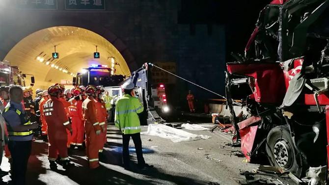 Çin'de otobüs kazası: 36 ölü