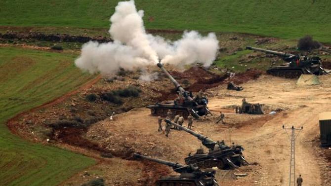 Afrin'deki mevziler havan ve obüslerle vuruluyor