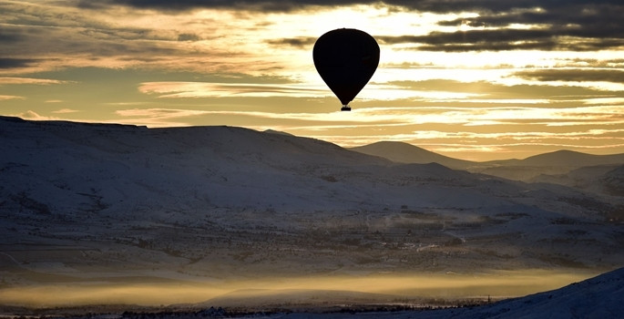 Kapadokya'da -16 derecede balon keyfi